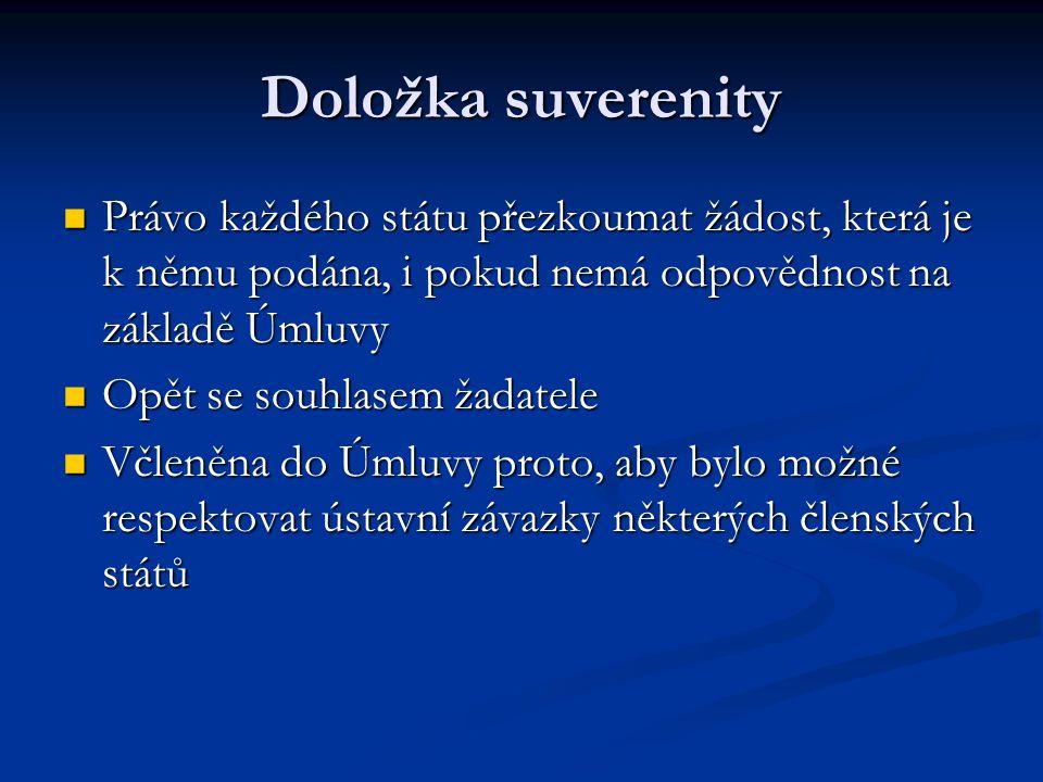 Doložka suverenity Právo každého státu přezkoumat žádost, která je k němu podána, i pokud nemá odpovědnost na základě Úmluvy.