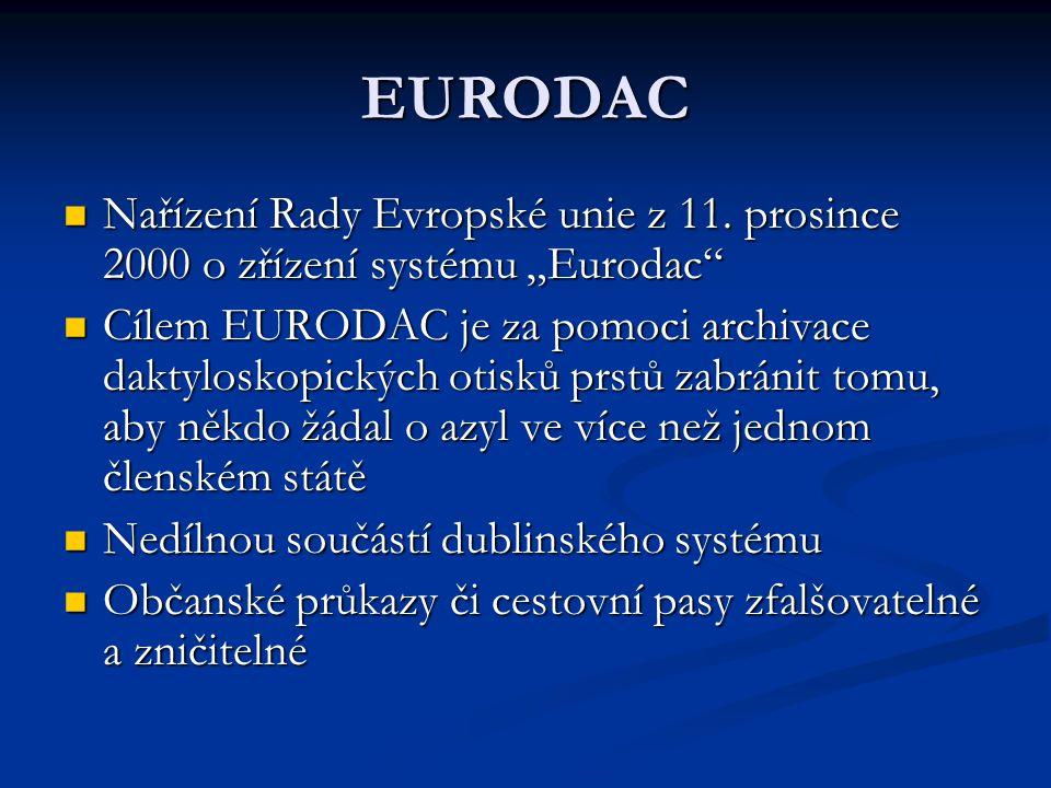 """EURODAC Nařízení Rady Evropské unie z 11. prosince 2000 o zřízení systému """"Eurodac"""