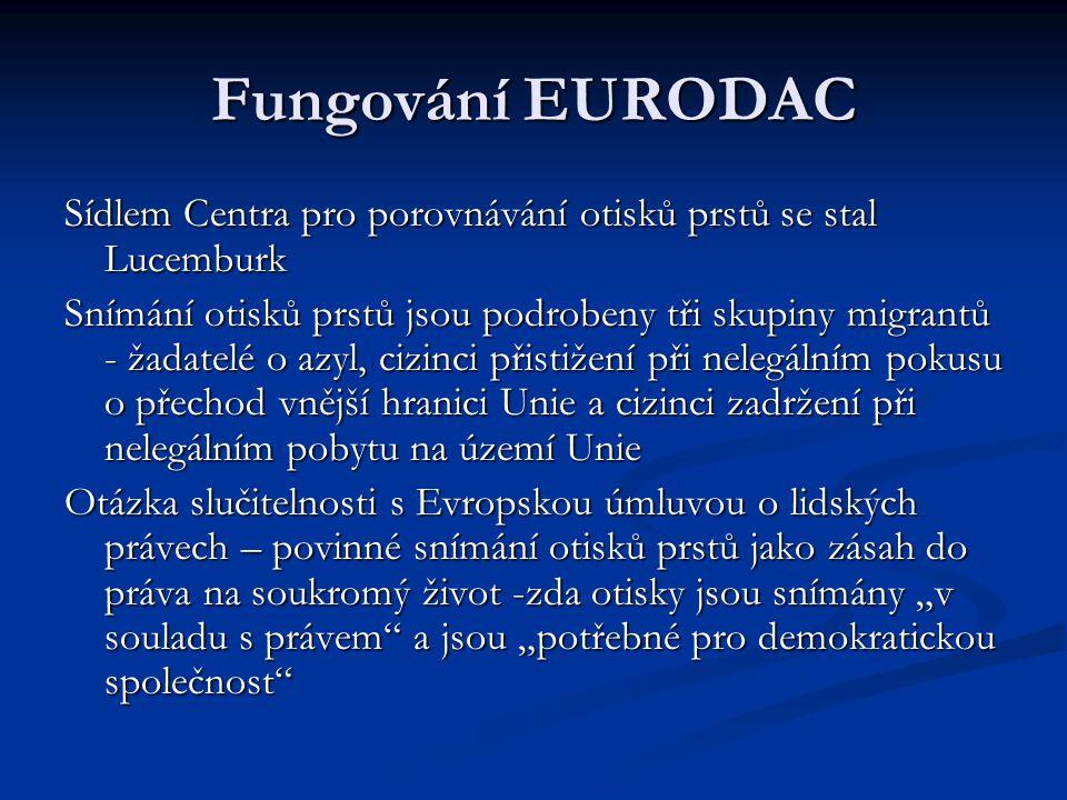 Fungování EURODAC Sídlem Centra pro porovnávání otisků prstů se stal Lucemburk.