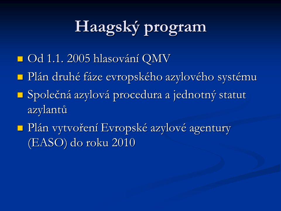 Haagský program Od 1.1. 2005 hlasování QMV