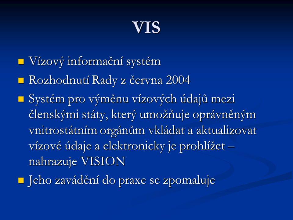 VIS Vízový informační systém Rozhodnutí Rady z června 2004