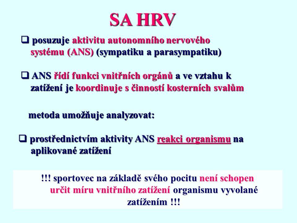 SA HRV posuzuje aktivitu autonomního nervového