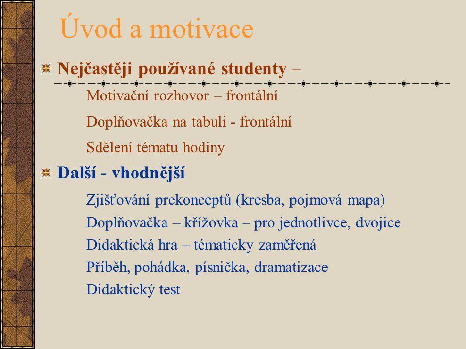Úvod a motivace Nejčastěji používané studenty –