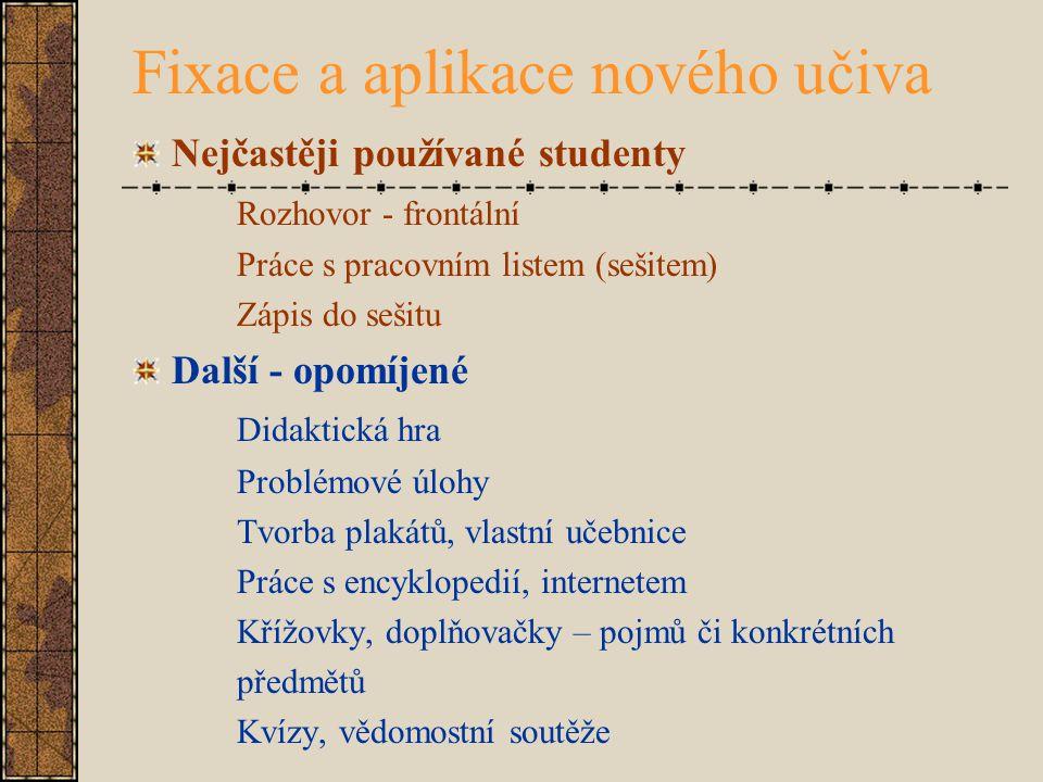 Fixace a aplikace nového učiva