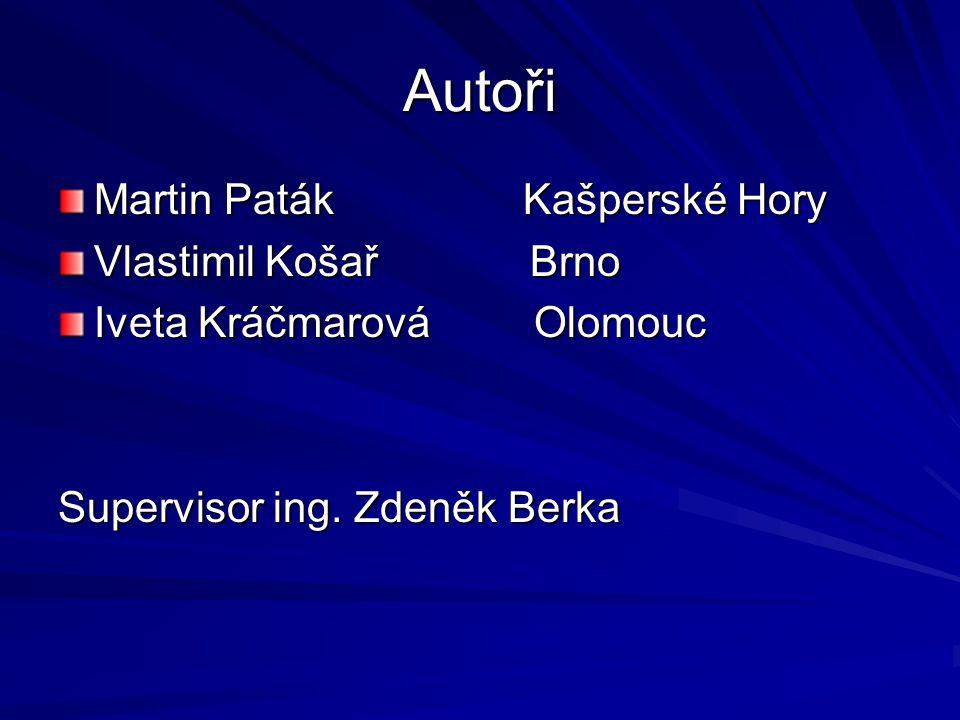 Autoři Martin Paták Kašperské Hory Vlastimil Košař Brno