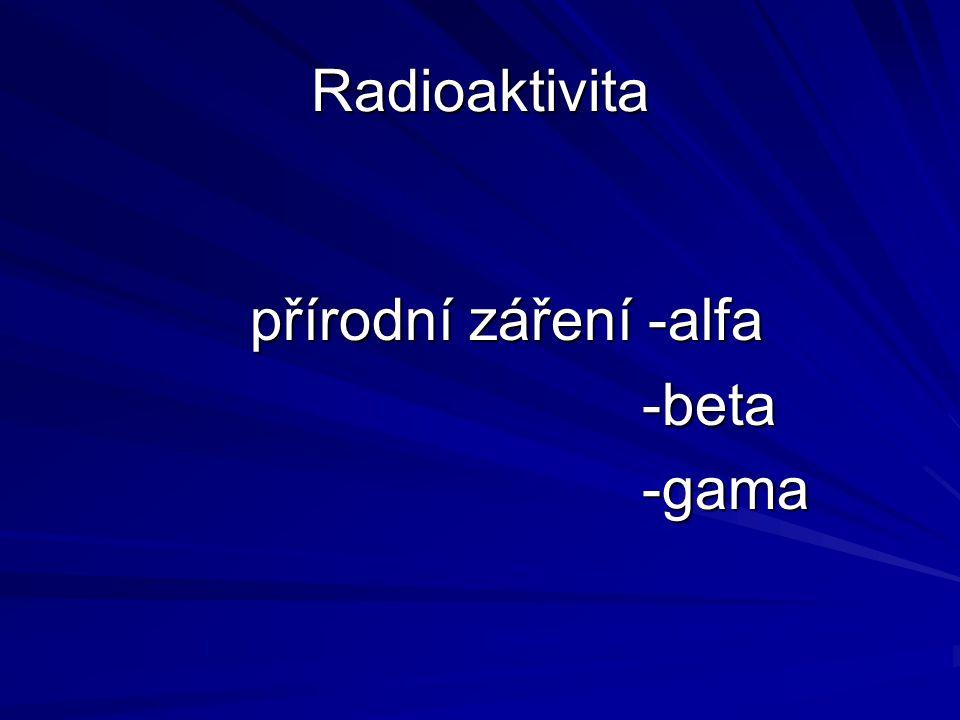 Radioaktivita přírodní záření -alfa -beta -gama