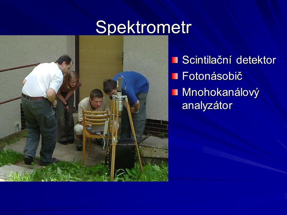 Spektrometr Scintilační detektor Fotonásobič Mnohokanálový analyzátor