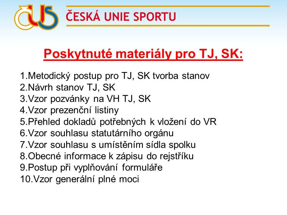 Poskytnuté materiály pro TJ, SK: