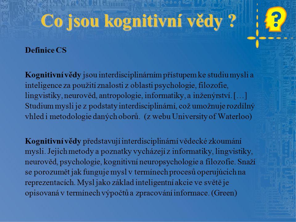 Co jsou kognitivní vědy