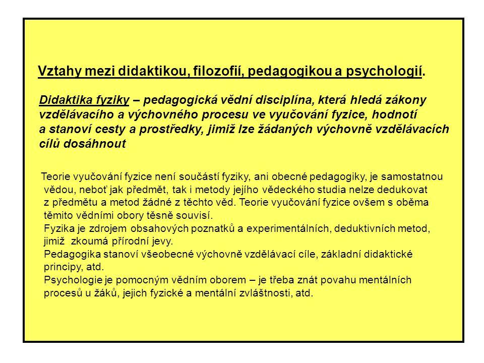 Vztahy mezi didaktikou, filozofií, pedagogikou a psychologií.