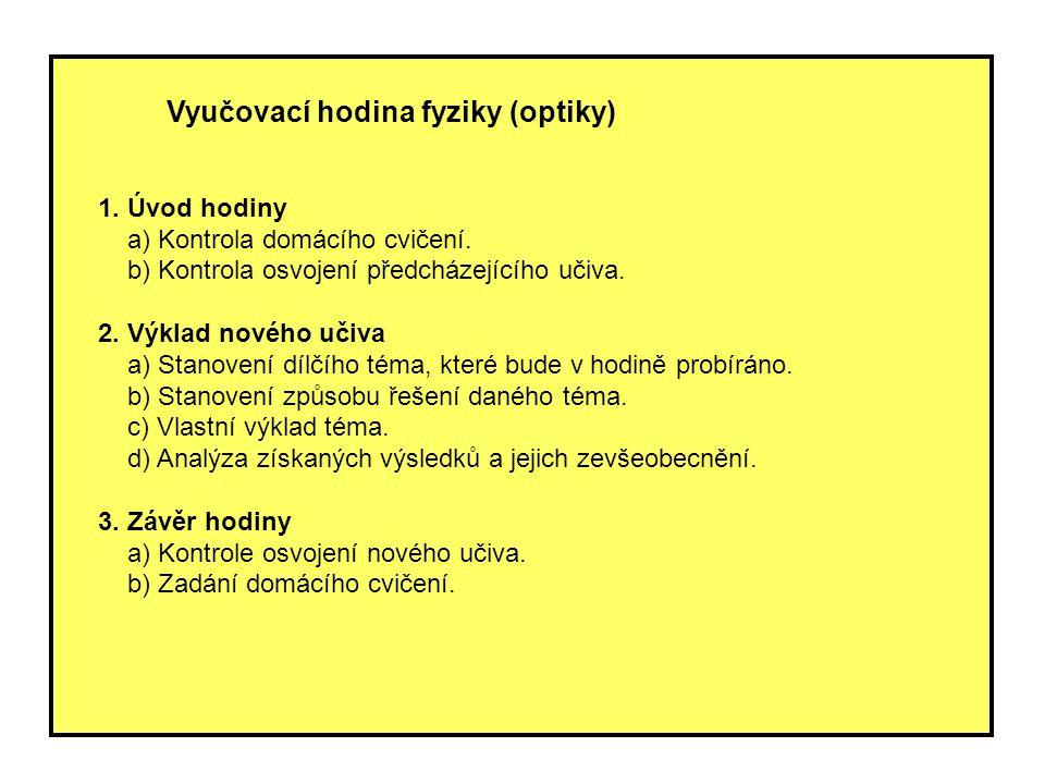 Vyučovací hodina fyziky (optiky)