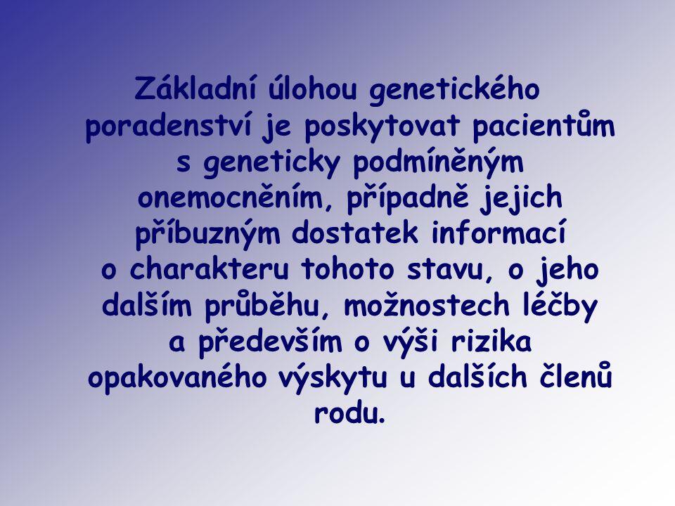 Základní úlohou genetického poradenství je poskytovat pacientům s geneticky podmíněným onemocněním, případně jejich příbuzným dostatek informací o charakteru tohoto stavu, o jeho dalším průběhu, možnostech léčby a především o výši rizika opakovaného výskytu u dalších členů rodu.