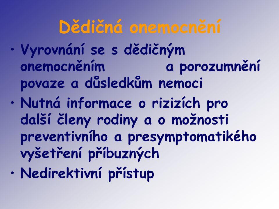 Dědičná onemocnění Vyrovnání se s dědičným onemocněním a porozumnění povaze a důsledkům nemoci.