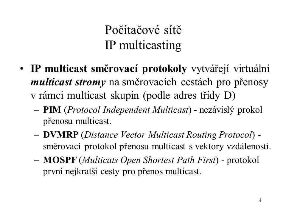 Počítačové sítě IP multicasting