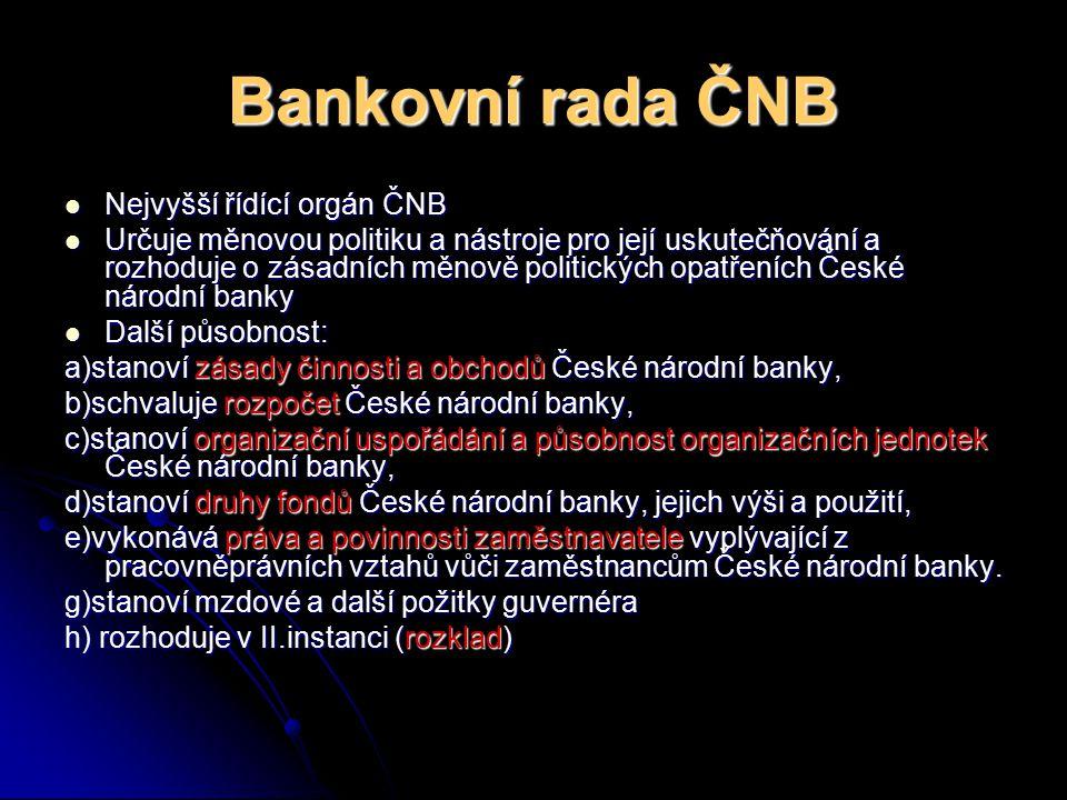Bankovní rada ČNB Nejvyšší řídící orgán ČNB