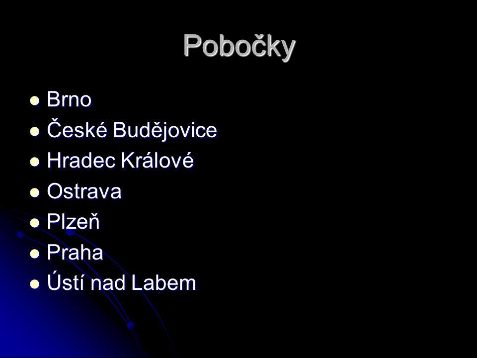Pobočky Brno České Budějovice Hradec Králové Ostrava Plzeň Praha