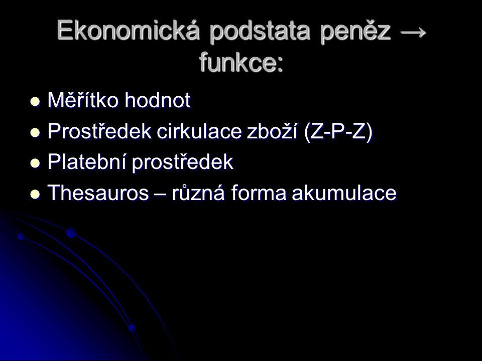 Ekonomická podstata peněz → funkce: