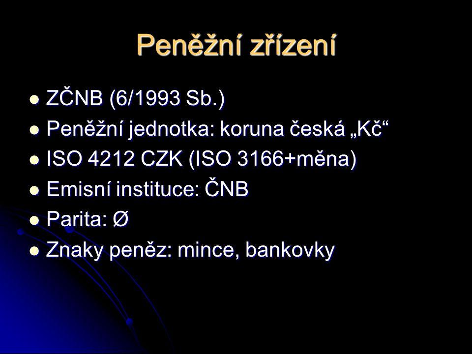 """Peněžní zřízení ZČNB (6/1993 Sb.) Peněžní jednotka: koruna česká """"Kč"""