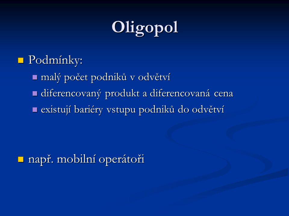 Oligopol Podmínky: např. mobilní operátoři