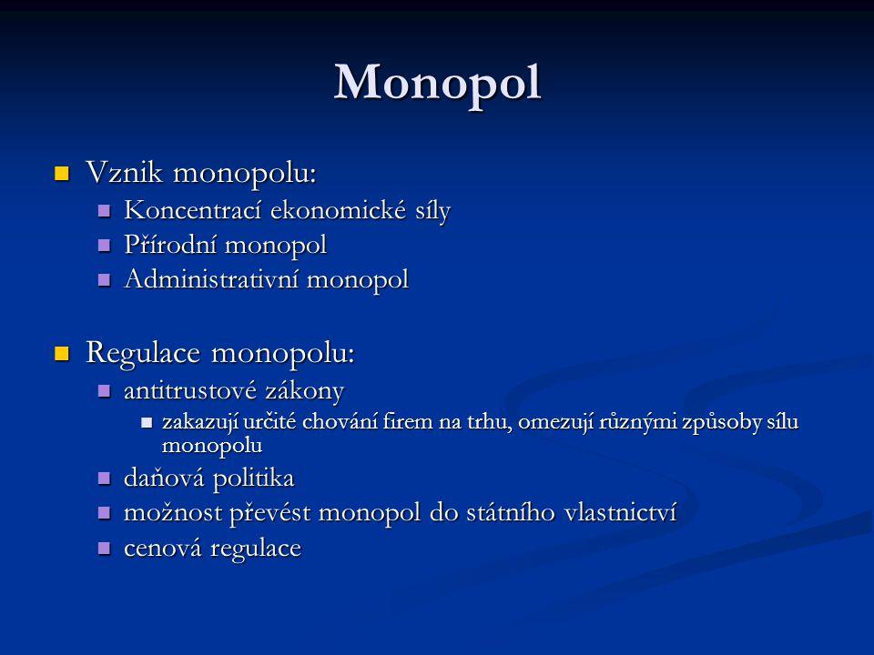 Monopol Vznik monopolu: Regulace monopolu: Koncentrací ekonomické síly