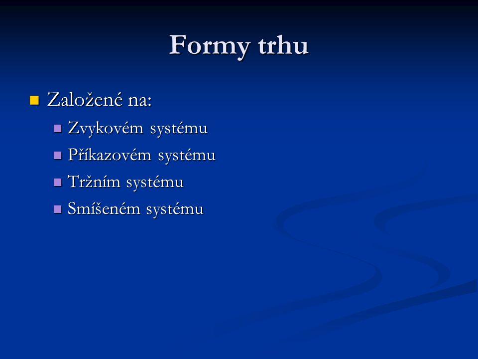 Formy trhu Založené na: Zvykovém systému Příkazovém systému