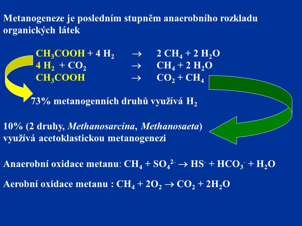 Metanogeneze je posledním stupněm anaerobního rozkladu organických látek