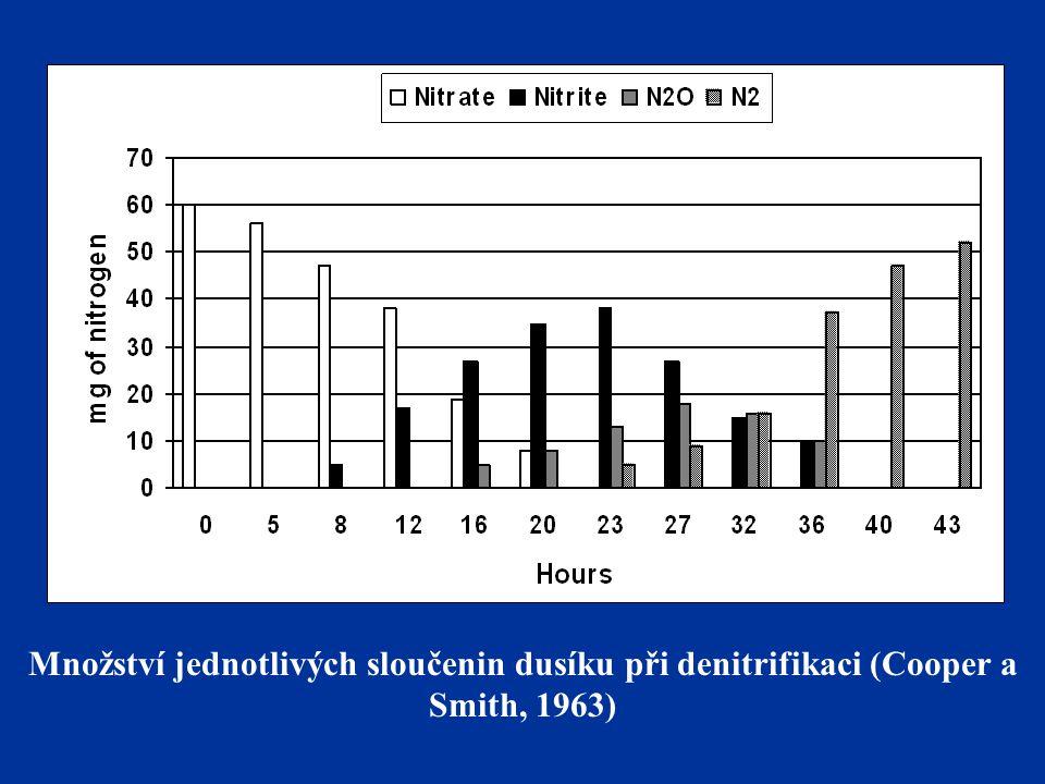 Množství jednotlivých sloučenin dusíku při denitrifikaci (Cooper a Smith, 1963)