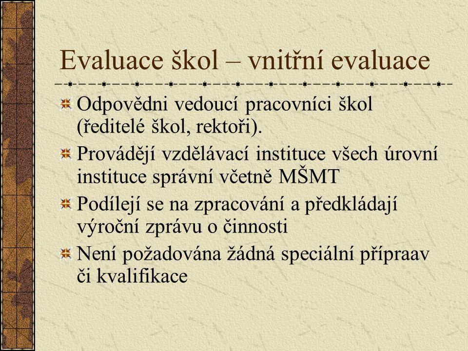 Evaluace škol – vnitřní evaluace