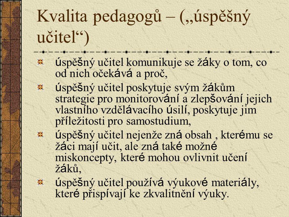 """Kvalita pedagogů – (""""úspěšný učitel )"""