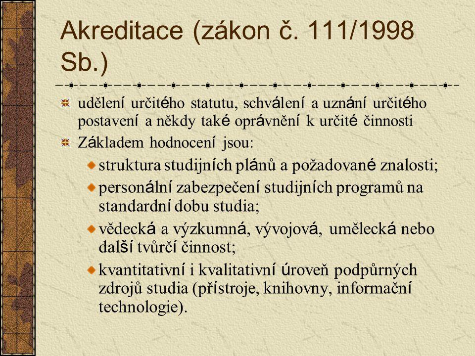 Akreditace (zákon č. 111/1998 Sb.)