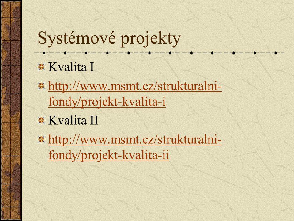 Systémové projekty Kvalita I