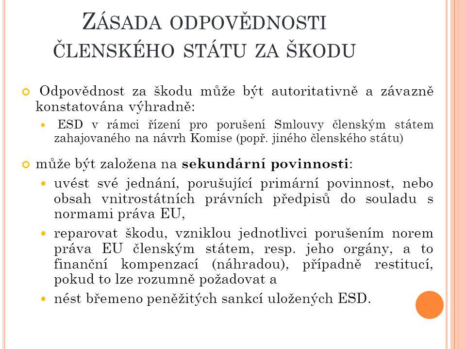 Zásada odpovědnosti členského státu za škodu