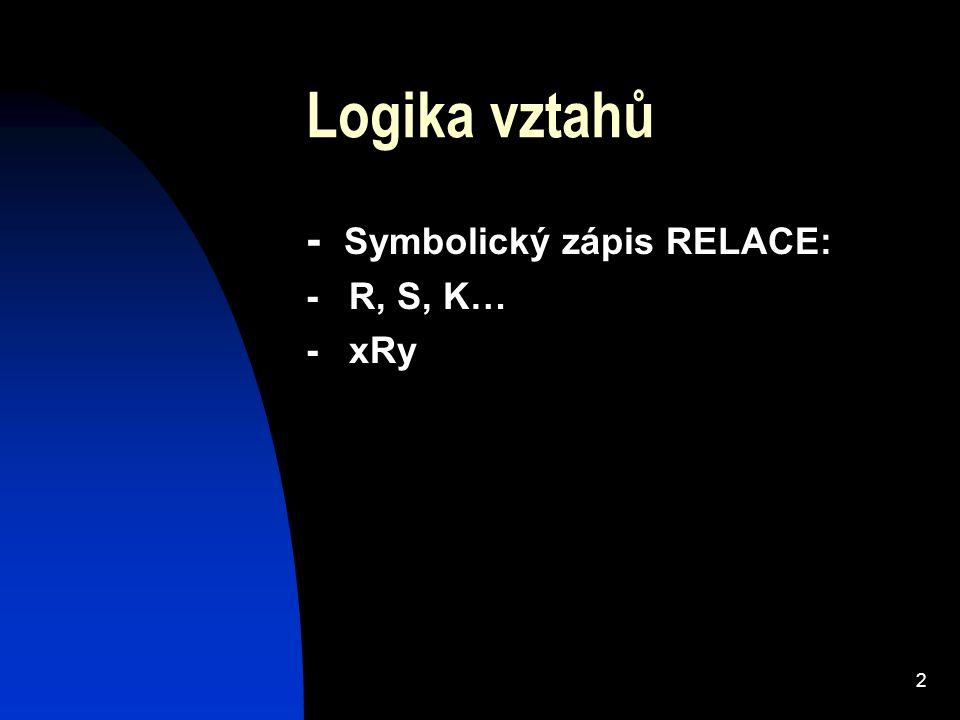 Logika vztahů - Symbolický zápis RELACE: - R, S, K… - xRy