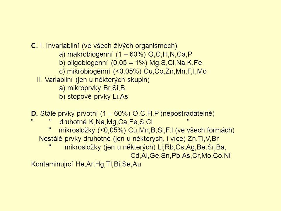 C. I. Invariabilní (ve všech živých organismech)