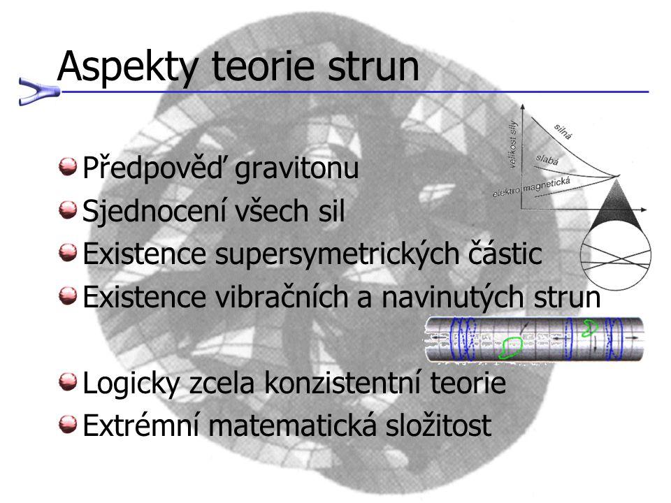 Aspekty teorie strun Předpověď gravitonu Sjednocení všech sil
