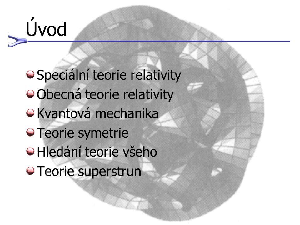 Úvod Speciální teorie relativity Obecná teorie relativity