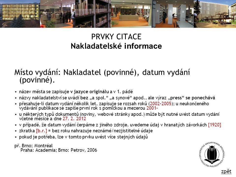 PRVKY CITACE Nakladatelské informace