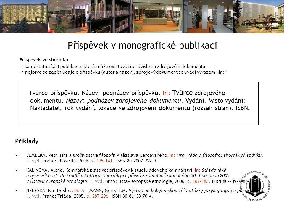 Příspěvek v monografické publikaci