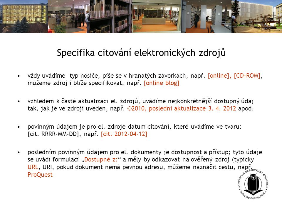 Specifika citování elektronických zdrojů