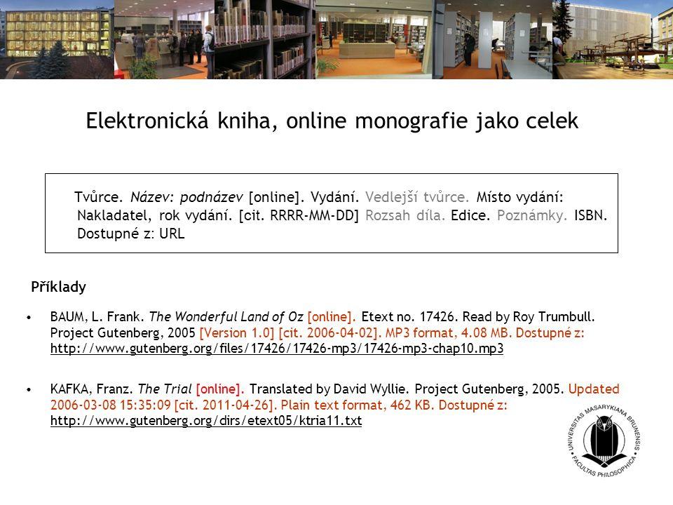 Elektronická kniha, online monografie jako celek