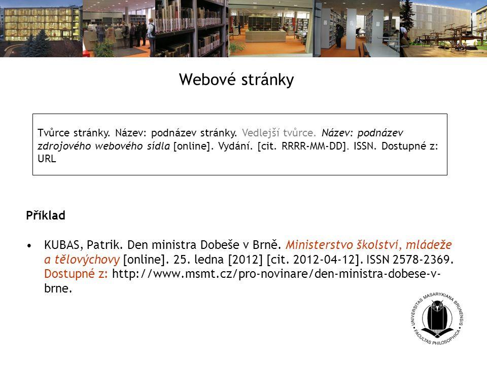 Webové stránky Příklad