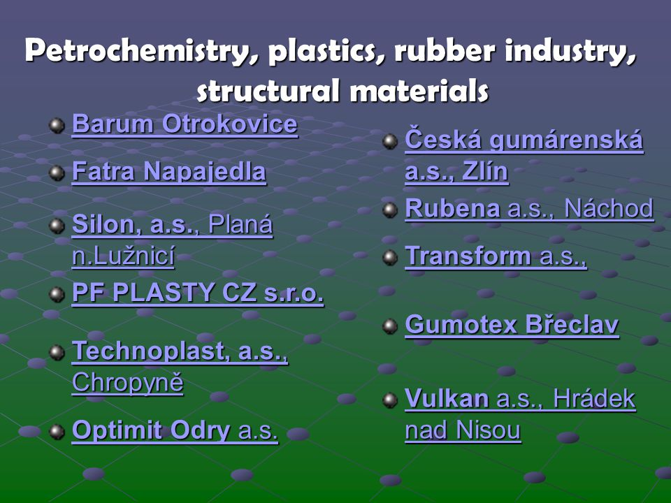 Petrochemistry, plastics, rubber industry, structural materials