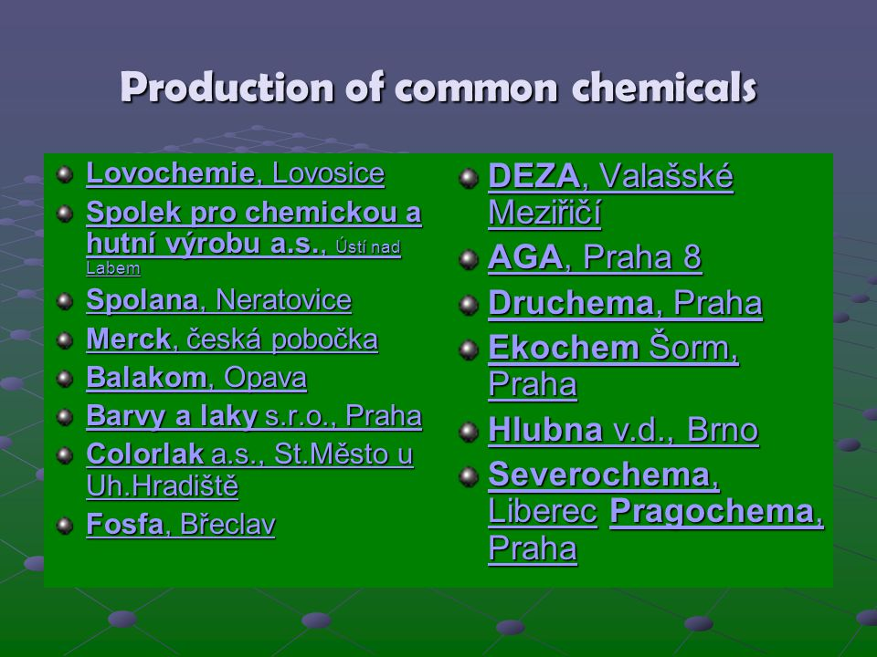 Production of common chemicals