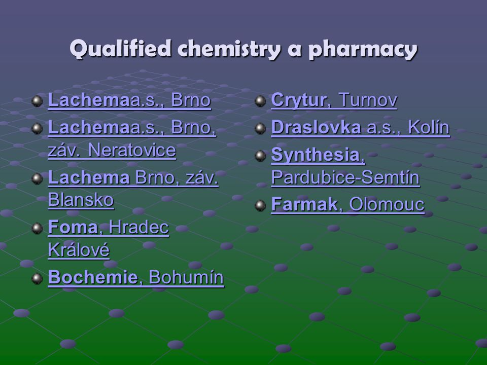 Qualified chemistry a pharmacy
