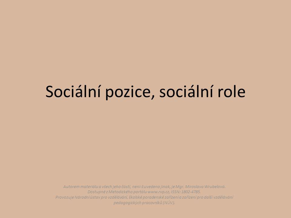 Sociální pozice, sociální role