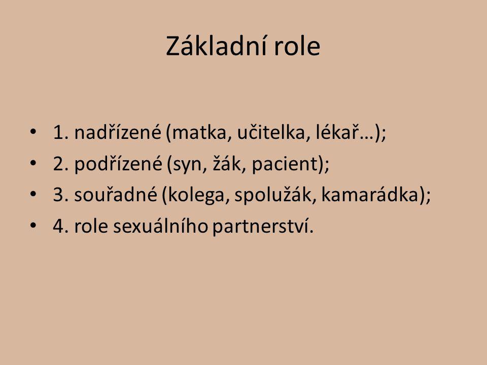 Základní role 1. nadřízené (matka, učitelka, lékař…);