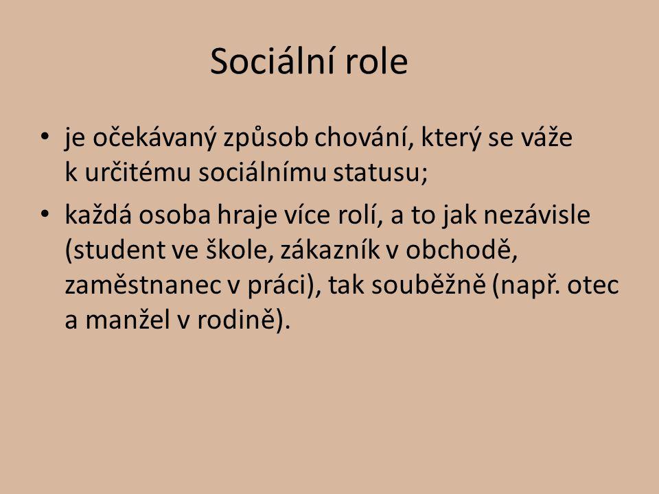 Sociální role je očekávaný způsob chování, který se váže k určitému sociálnímu statusu;