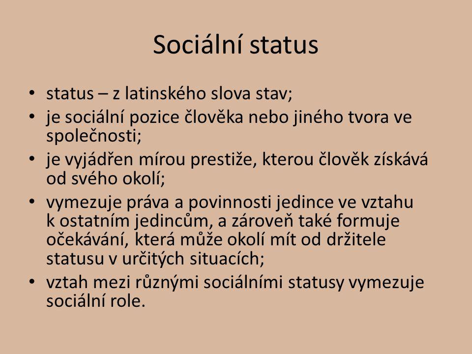 Sociální status status – z latinského slova stav;