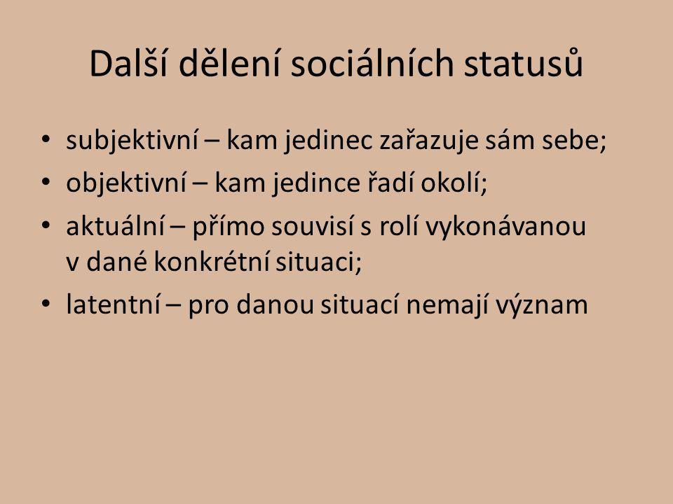 Další dělení sociálních statusů