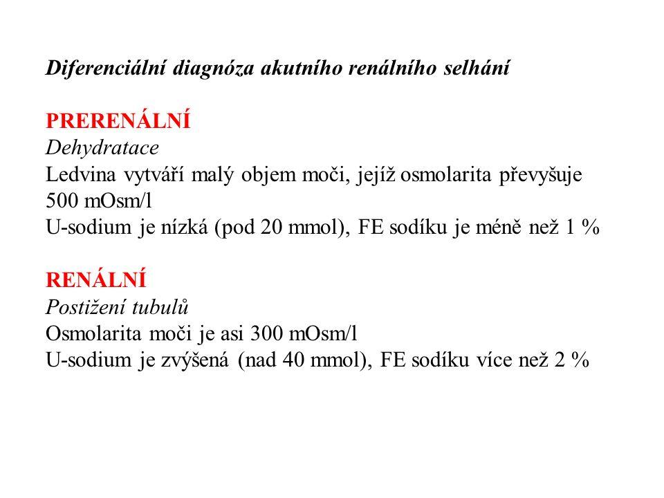 Diferenciální diagnóza akutního renálního selhání